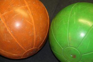 orange and green medicine balls